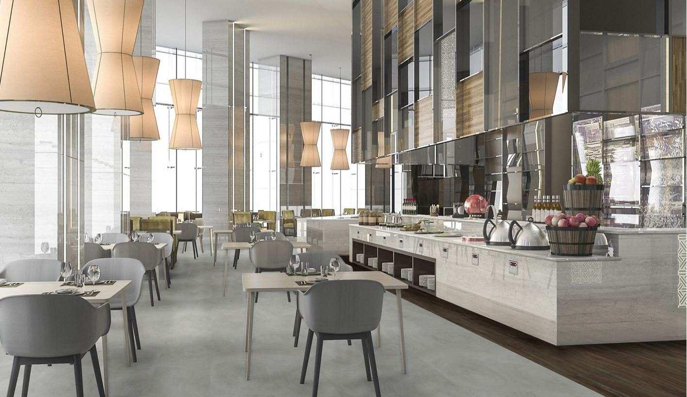 Grey floor in stylish restaurant