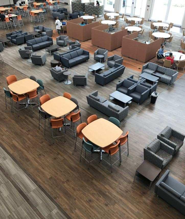Aerial view of grey floor in restaurant