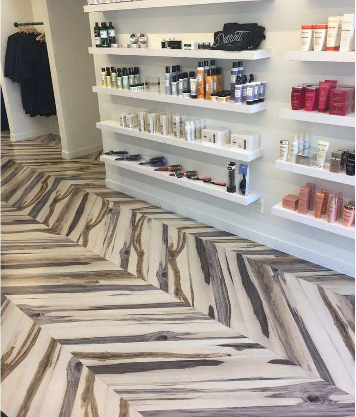 Wood Floor in Herringbone Pattern under product case