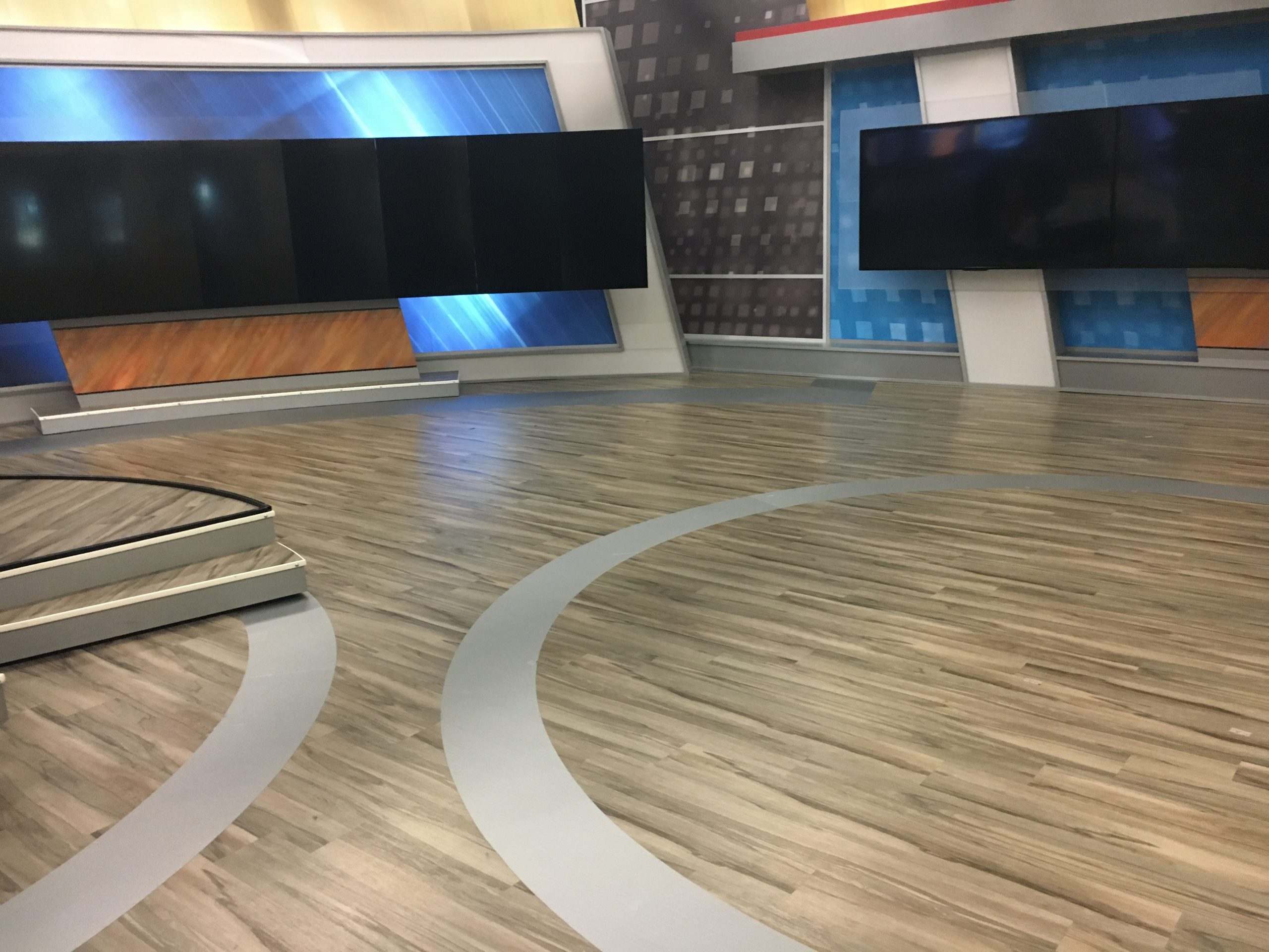 WESH Studio Flooring with band of monitors