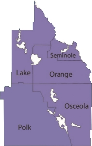 Map showing sales territory in central florida region