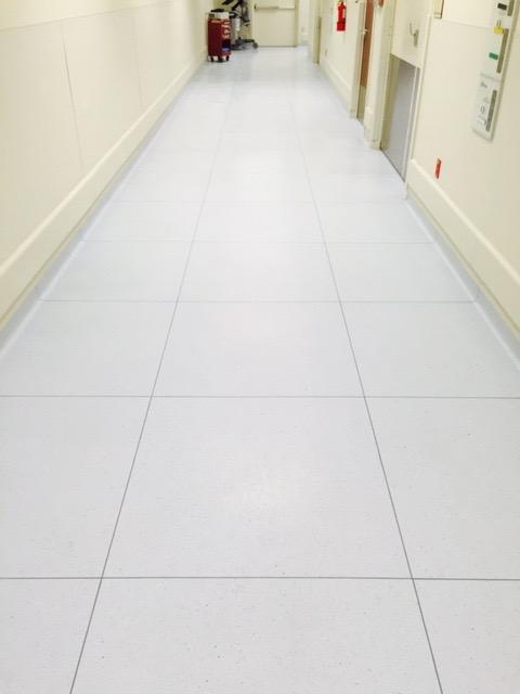 Hospital tile flooring in a hallway