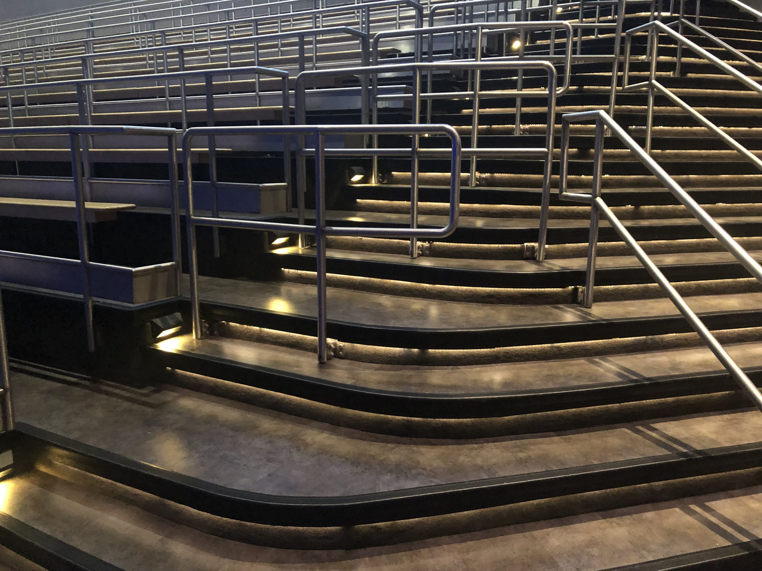 Flooring in an amphitheater seating area stairway