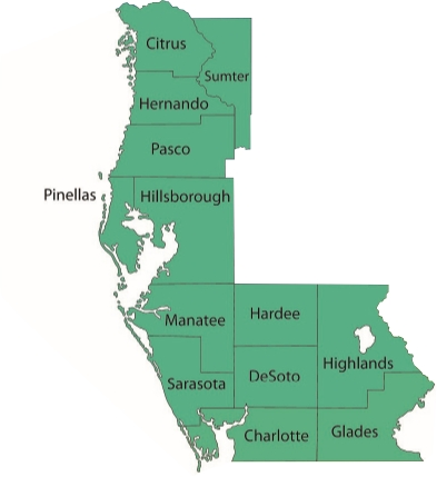Map showing sales territory in west florida region