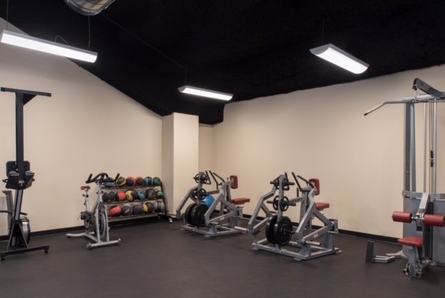 Weight room with rubber flooring