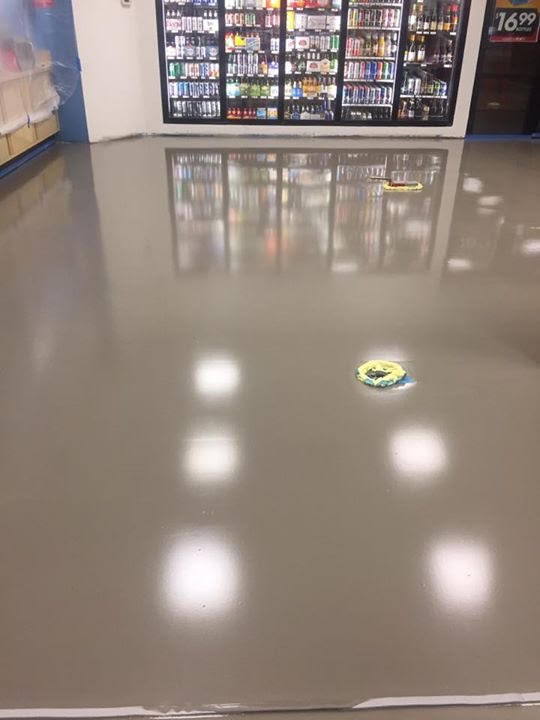 Flooring with cement leveler applied