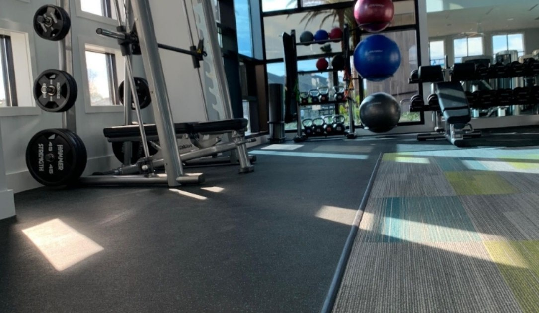 Rubber and Carpet flooring in a gym