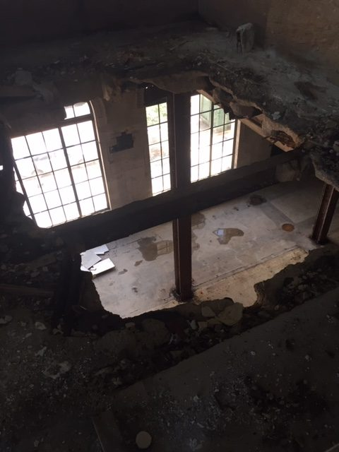 Old building with hole in floor